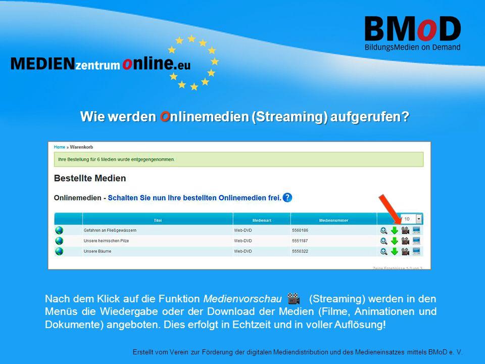 Wie werden Onlinemedien (Streaming) aufgerufen? Erstellt vom Verein zur Förderung der digitalen Mediendistribution und des Medieneinsatzes mittels BMo