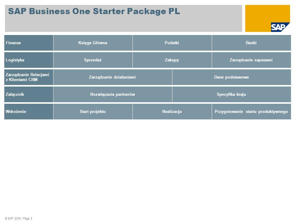 © SAP 2008 / Page 3 SAP Business One Starter Package PL Finanse Księga Główna  Zapisy księgowe  Tymczasowe zapisy księgowe  Transakcje stornujace  Księgowania peridyczne  Szablony księgowań  Okresy sprawozdawcze  Księga Główna  Raoprt zapisów księgowych  Dziennik zapisów  Raporty kartotek  Raportowanie Księgi Głównej i kartotek klientów  SAP Product Available  SAP Product Available with Future Releases  Future Focus  Partner Product Available  Partner Product Available with Future Releases  SAP Product Available  SAP Product Available with Future Releases  Future Focus P Partner Product Available P Partner Product Available with Future Releases Podatki  Definicje kodów VAT  Raporty VAT  Deklaracje VAT  SAP Product Available  SAP Product Available with Future Releases  Future Focus  Partner Product Available  Partner Product Available with Future Releases  SAP Product Available  SAP Product Available with Future Releases  Future Focus P Partner Product Available P Partner Product Available with Future Releases Banki  Płatności przychodzące  Płatności wychodzące  Kreator płatności  Monitorowanie Cash Flow  Rozrachunki wewnętrzne  Kreator monitów  SAP Product Available  SAP Product Available with Future Releases  Future Focus  Partner Product Available  Partner Product Available with Future Releases  SAP Produkt: Dostępne  SAP Produkt: Dostępne w kolejnych wersjach  Planowane P Produkt Partnera: Dostępne P Produkt Partnera: Dostępne w kolejnych wersjach