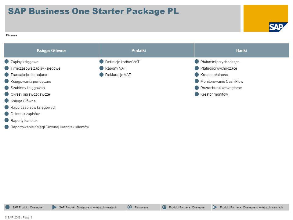 © SAP 2008 / Page 4 SAP Business One Starter Package PL Logistyka Sprzedaż  Oferta sprzedaży  Zlecenie sprzedaży  Dostawa Wz  Zwrot  Faktura sprzedaży  Anulowanie faktury sprzedaży Korekta faktury sprzedaży  Faktura rezerwująca sprzedaży  Lista otwartych dokumentów  Analizy sprzedaży  Kreator monitów  Kreator tworzenia dokumentów  SAP Product Available  SAP Product Available with Future Releases  Future Focus  Partner Product Available  Partner Product Available with Future Releases  SAP Product Available  SAP Product Available with Future Releases  Future Focus P Partner Product Available P Partner Product Available with Future Releases Zakupy Oferta zakupu Zamówienie zakupu  Przyjęcie dostawy Pz  Zwrot dostawy zakupu  Faktura zakupu  Anulowanie faktury zakupu Korekta faktury zakupu  Faktura rezerwująca zkupu  Lista otwartych dokumentów  Analizy zakupu  SAP Product Available  SAP Product Available with Future Releases  Future Focus  Partner Product Available  Partner Product Available with Future Releases  SAP Product Available  SAP Product Available with Future Releases  Future Focus P Partner Product Available P Partner Product Available with Future Releases Zarządzanie zapasami  Przesuniecie magazynowe  Przyjęcie wewnętrzne towarów  Wydanie wewnętrzne towarów  Obsługa cenników  Raporty zapasów  SAP Product Available  SAP Product Available with Future Releases  Future Focus  Partner Product Available  Partner Product Available with Future Releases  SAP Produkt: Dostępne  SAP Produkt: Dostępne w kolejnych wersjach  Planowane P Produkt Partnera: Dostępne P Produkt Partnera: Dostępne w kolejnych wersjach