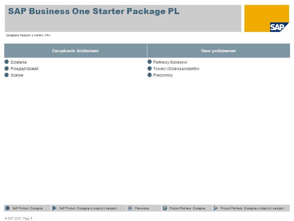 © SAP 2008 / Page 5 SAP Business One Starter Package PL Zarządzanie Relacjami z Klientami CRM Zarządzanie działaniami  Działania  Przegląd działań 