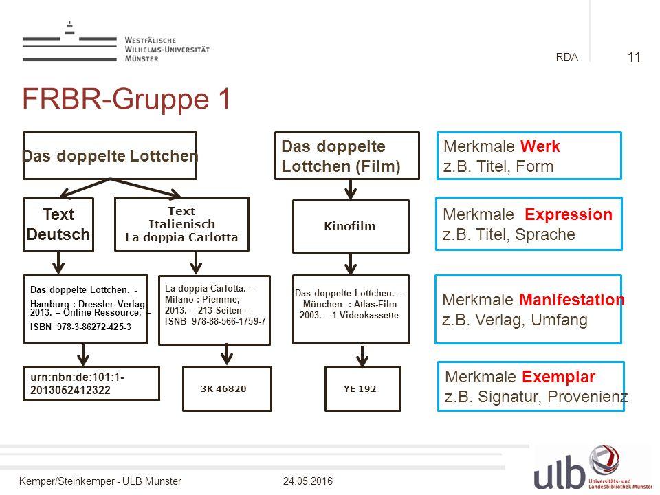 Kemper/Steinkemper - ULB Münster24.05.2016 RDA Das doppelte Lottchen Das doppelte Lottchen (Film) Merkmale Werk z.B.