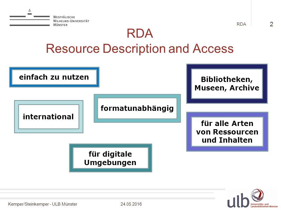 Kemper/Steinkemper - ULB Münster24.05.2016 RDA RDA Resource Description and Access 2 einfach zu nutzen Bibliotheken, Museen, Archive international für alle Arten von Ressourcen und Inhalten formatunabhängig für digitale Umgebungen