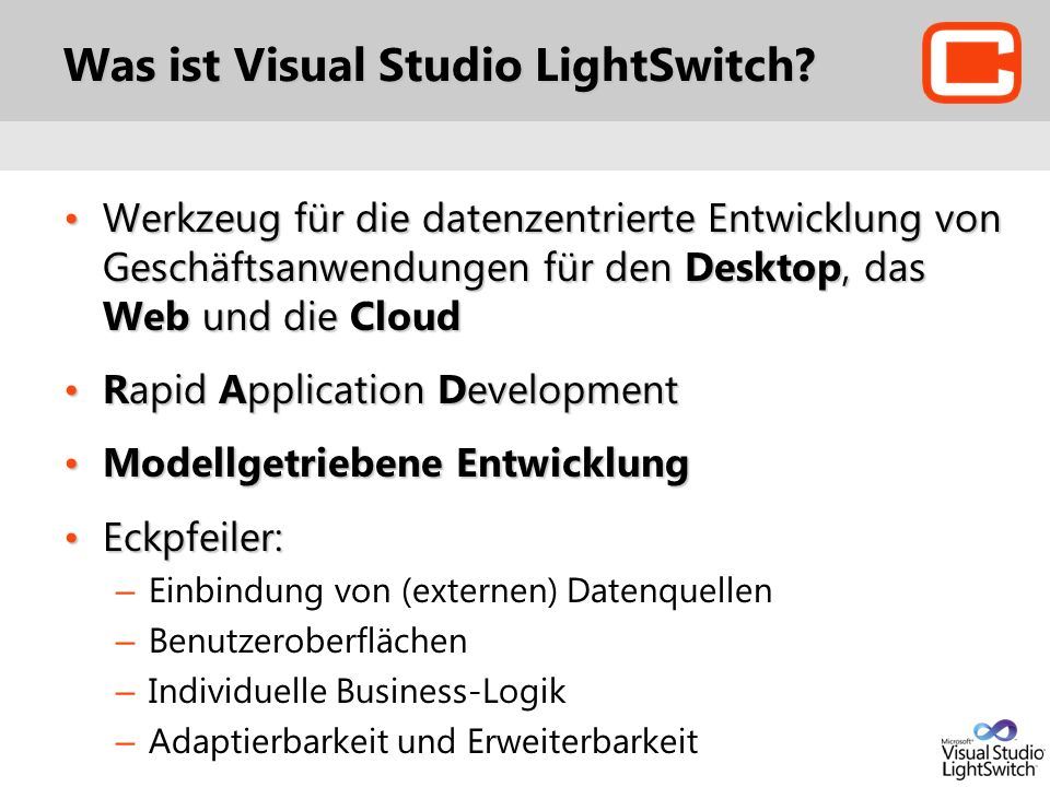 Was ist Visual Studio LightSwitch.