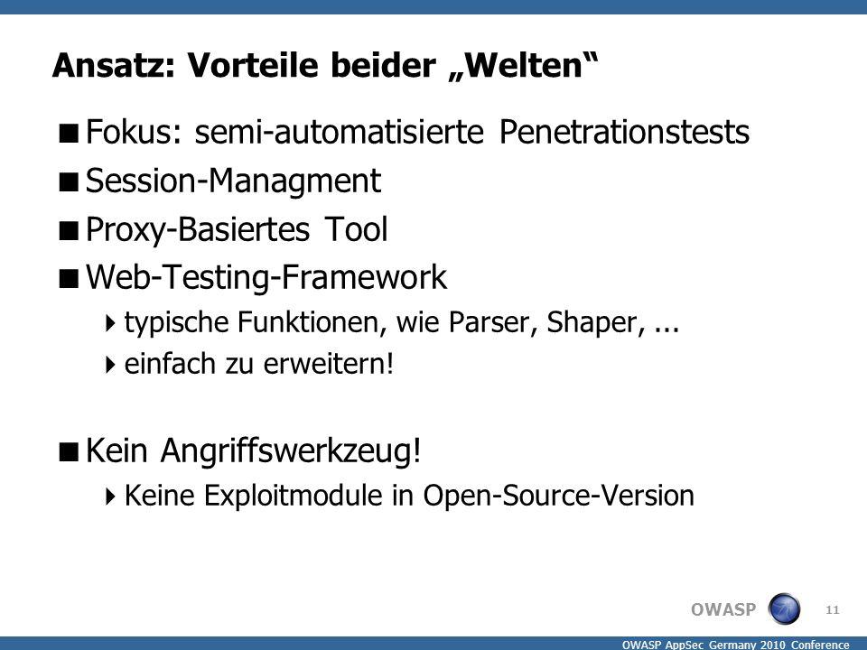 "OWASP OWASP AppSec Germany 2010 Conference Ansatz: Vorteile beider ""Welten""  Fokus: semi-automatisierte Penetrationstests  Session-Managment  Proxy"
