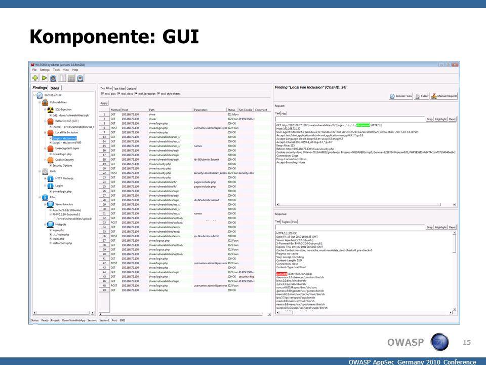 OWASP OWASP AppSec Germany 2010 Conference Komponente: GUI 15