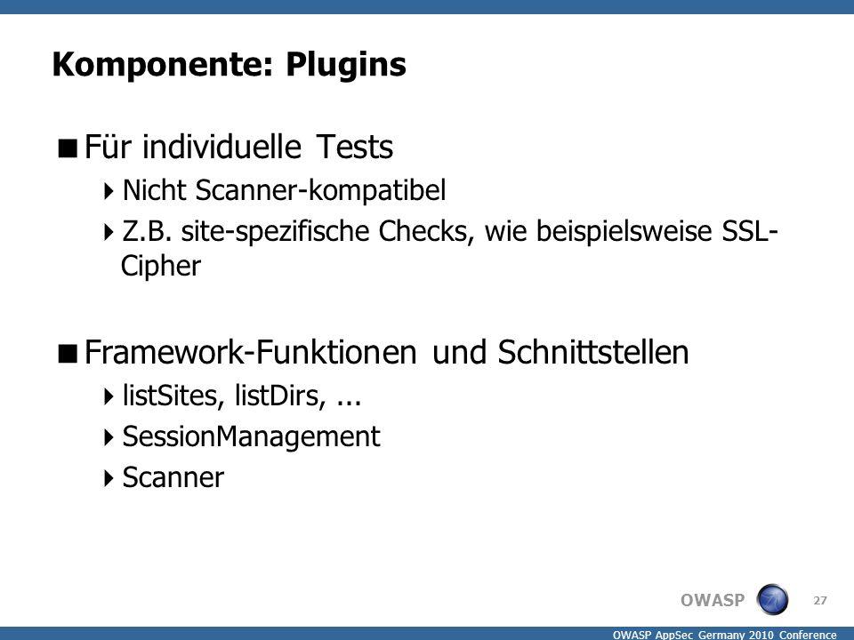 OWASP OWASP AppSec Germany 2010 Conference Komponente: Plugins  Für individuelle Tests  Nicht Scanner-kompatibel  Z.B. site-spezifische Checks, wie