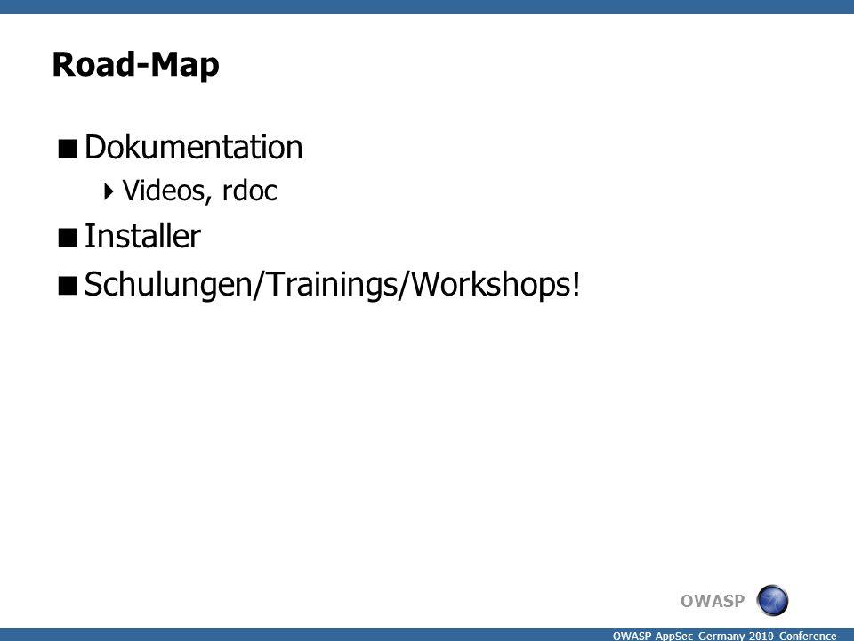 OWASP OWASP AppSec Germany 2010 Conference Road-Map  Dokumentation  Videos, rdoc  Installer  Schulungen/Trainings/Workshops!