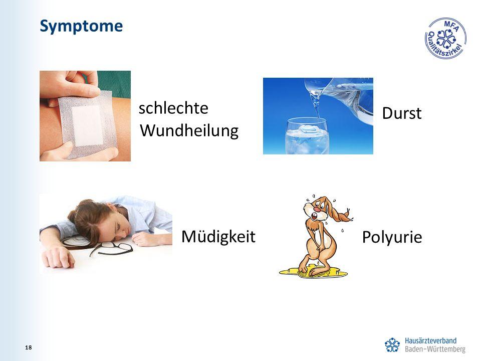 Symptome 18 Polyurie schlechte Wundheilung Durst Müdigkeit