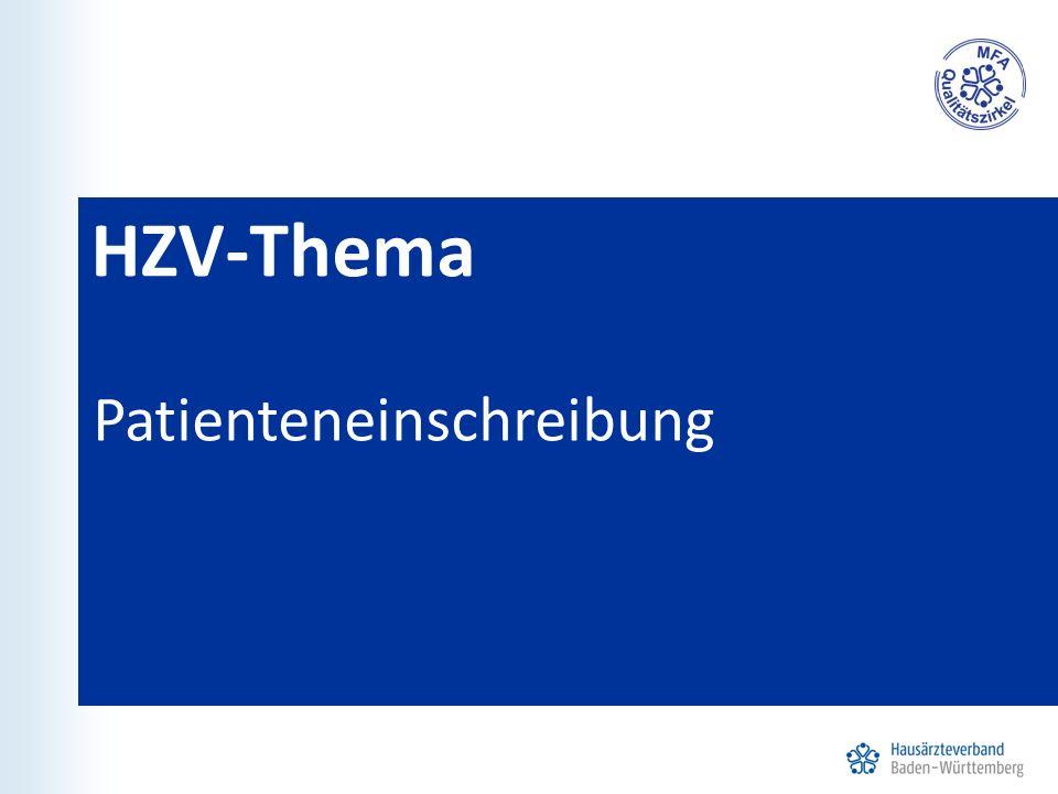 HZV-Thema Patienteneinschreibung