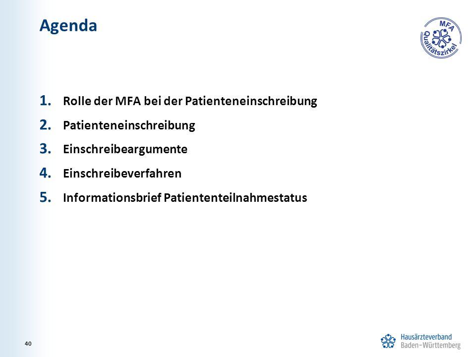 Agenda 1. Rolle der MFA bei der Patienteneinschreibung 2.