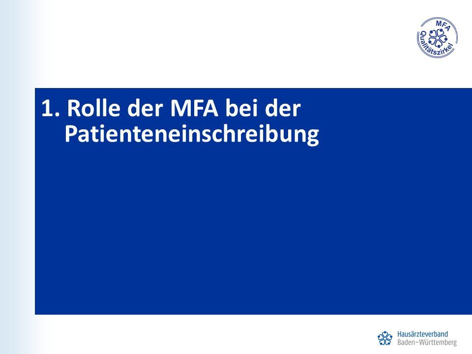 1. Rolle der MFA bei der Patienteneinschreibung