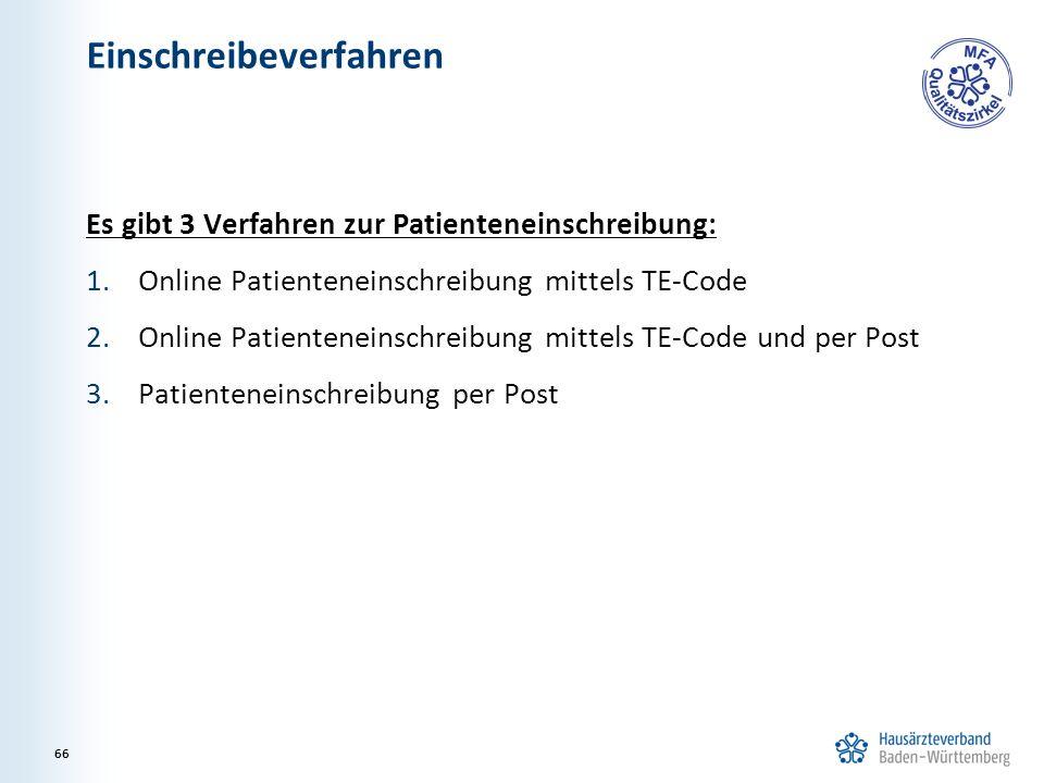 Einschreibeverfahren Es gibt 3 Verfahren zur Patienteneinschreibung: 1.Online Patienteneinschreibung mittels TE-Code 2.Online Patienteneinschreibung mittels TE-Code und per Post 3.Patienteneinschreibung per Post 66