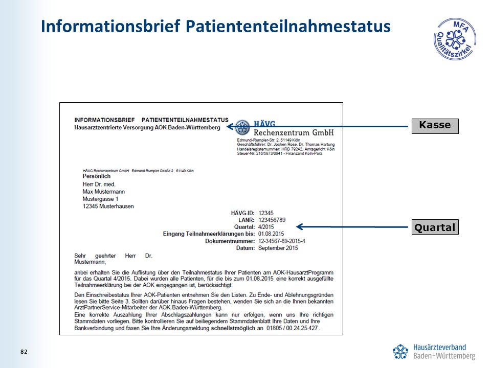 Informationsbrief Patiententeilnahmestatus Kasse Quartal 82