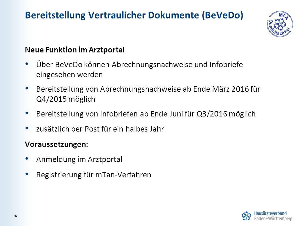 Bereitstellung Vertraulicher Dokumente (BeVeDo) Neue Funktion im Arztportal Über BeVeDo können Abrechnungsnachweise und Infobriefe eingesehen werden Bereitstellung von Abrechnungsnachweise ab Ende März 2016 für Q4/2015 möglich Bereitstellung von Infobriefen ab Ende Juni für Q3/2016 möglich zusätzlich per Post für ein halbes Jahr Voraussetzungen: Anmeldung im Arztportal Registrierung für mTan-Verfahren 94