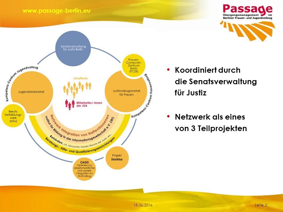 18.06.2016 www.passage-berlin.eu Seite 2 Netzwerk als eines von 3 Teilprojekten Koordiniert durch die Senatsverwaltung für Justiz