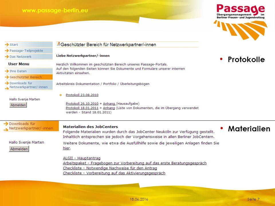 18.06.2016 www.passage-berlin.eu Seite 7 Protokolle Materialien