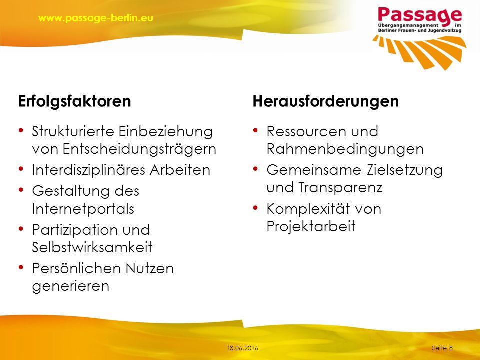 18.06.2016 www.passage-berlin.eu Strukturierte Einbeziehung von Entscheidungsträgern Interdisziplinäres Arbeiten Gestaltung des Internetportals Partiz