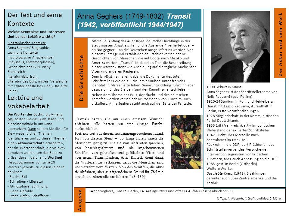 """Anna Seghers (1749-1832) Transit (1942, veröffentlicht 1944/1947) Marseille, Anfang der 40er Jahre: deutsche Flüchtlinge in der Stadt müssen Angst als """"feindliche Ausländer verhaftet oder – als Nazigegner – an die Deutschen ausgeliefert zu werden."""