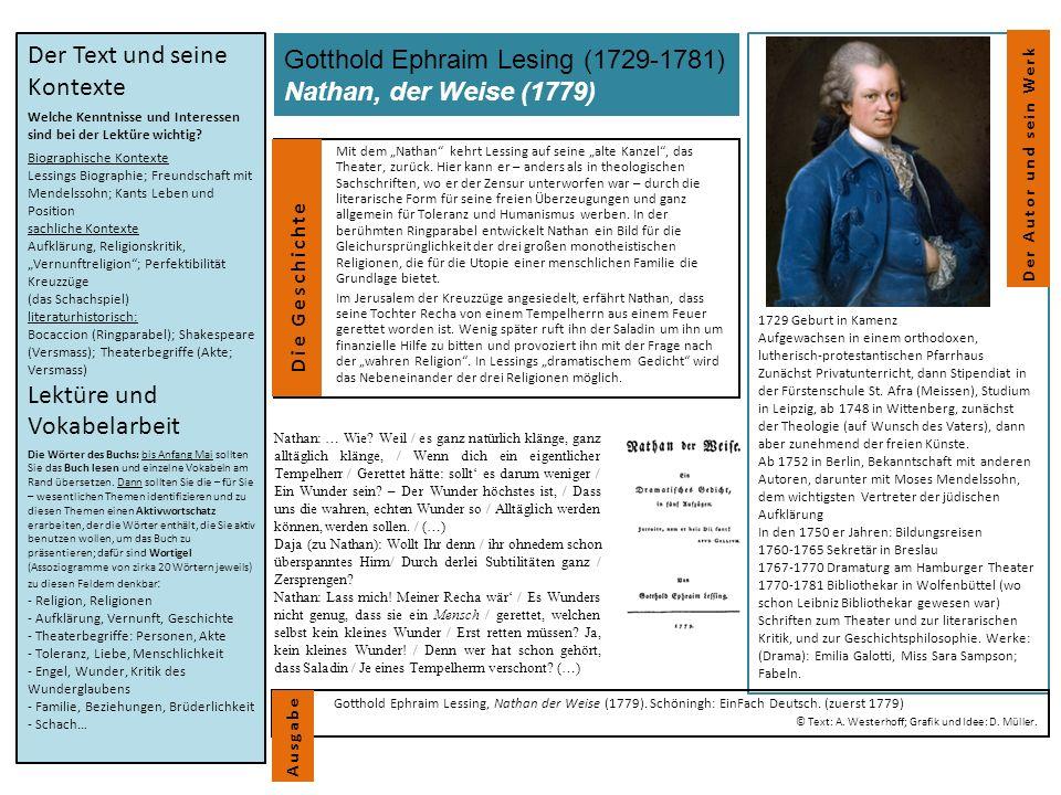 """Gotthold Ephraim Lesing (1729-1781) Nathan, der Weise (1779) Mit dem """"Nathan"""" kehrt Lessing auf seine """"alte Kanzel"""", das Theater, zurück. Hier kann er"""