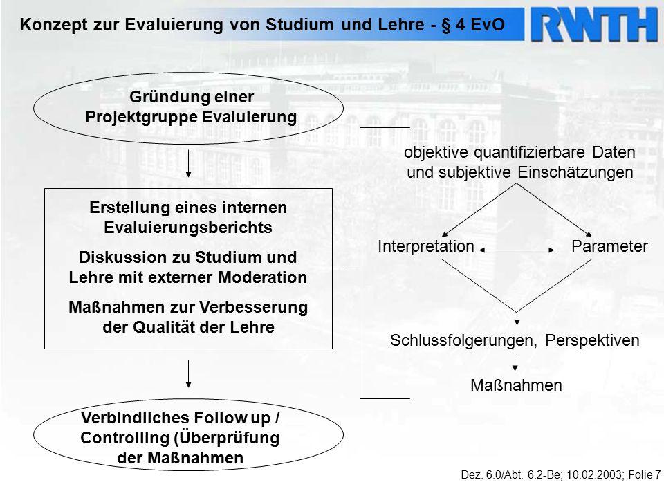 Konzept zur Evaluierung von Studium und Lehre - § 4 EvO Dez.