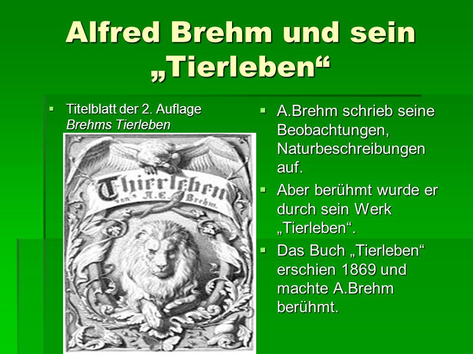 """Alfred Brehm und sein """"Tierleben  Titelblatt der 2."""