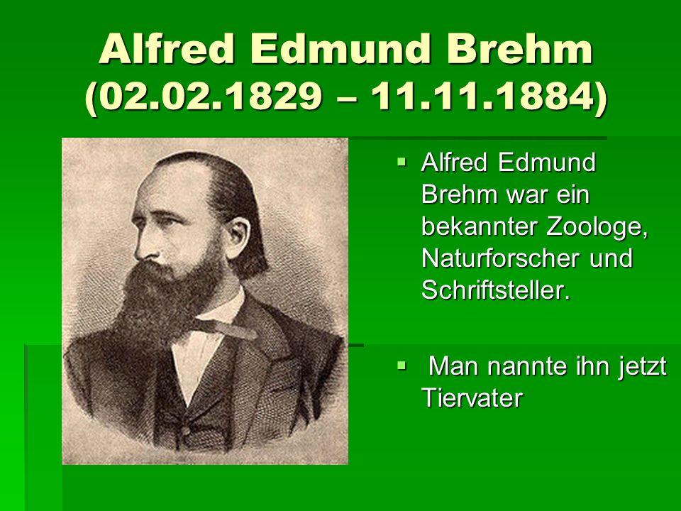 Alfred Edmund Brehm (02.02.1829 – 11.11.1884)  Alfred Edmund Brehm war ein bekannter Zoologe, Naturforscher und Schriftsteller.