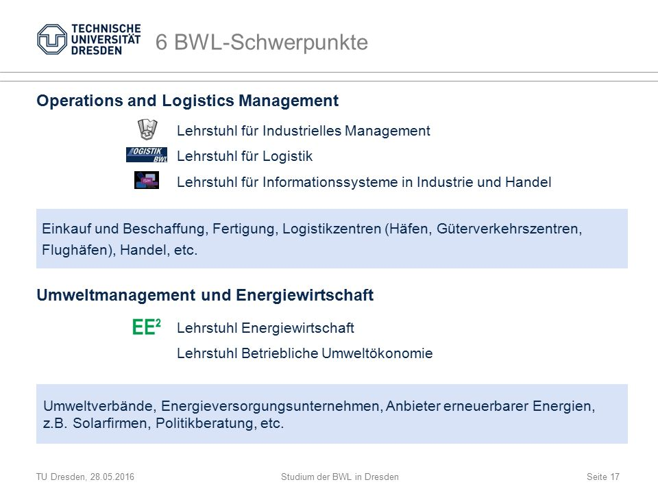 TU Dresden, 28.05.2016Studium der BWL in DresdenSeite 17 6 BWL-Schwerpunkte Operations and Logistics Management Lehrstuhl für Industrielles Management