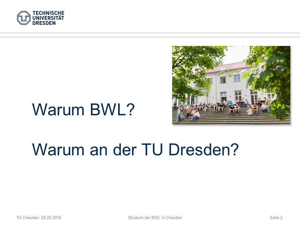 TU Dresden, 28.05.2016Studium der BWL in DresdenSeite 2 Warum BWL Warum an der TU Dresden