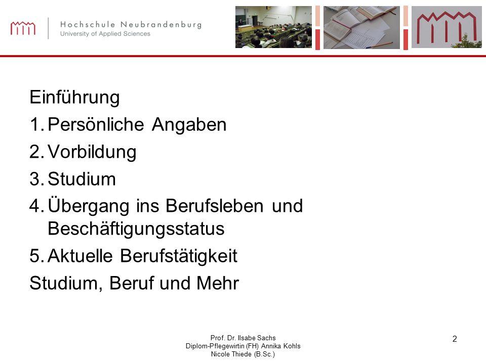 Prof. Dr. Ilsabe Sachs Diplom-Pflegewirtin (FH) Annika Kohls Nicole Thiede (B.Sc.) 2 Einführung 1.Persönliche Angaben 2.Vorbildung 3.Studium 4.Übergan