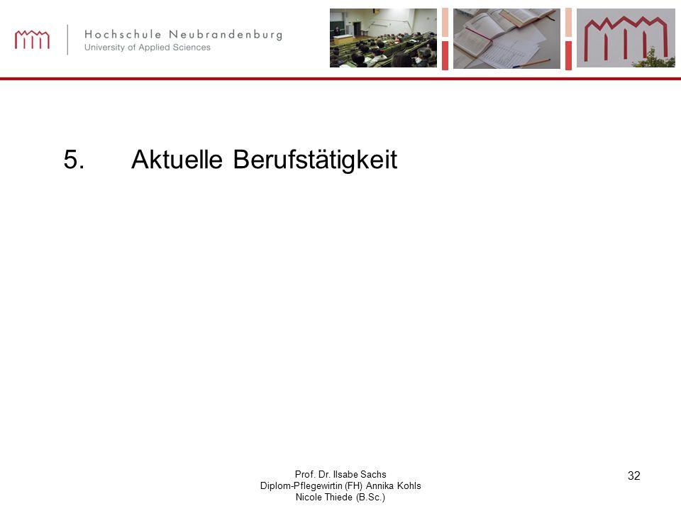 Prof. Dr. Ilsabe Sachs Diplom-Pflegewirtin (FH) Annika Kohls Nicole Thiede (B.Sc.) 32 5.Aktuelle Berufstätigkeit