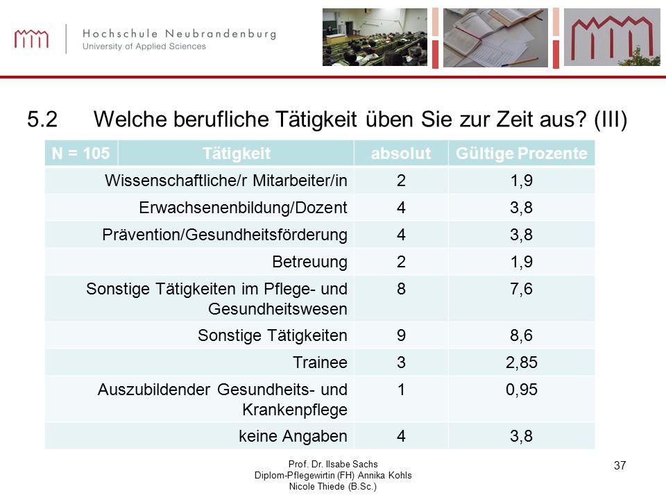 Prof. Dr. Ilsabe Sachs Diplom-Pflegewirtin (FH) Annika Kohls Nicole Thiede (B.Sc.) 37 5.2Welche berufliche Tätigkeit üben Sie zur Zeit aus? (III) N =