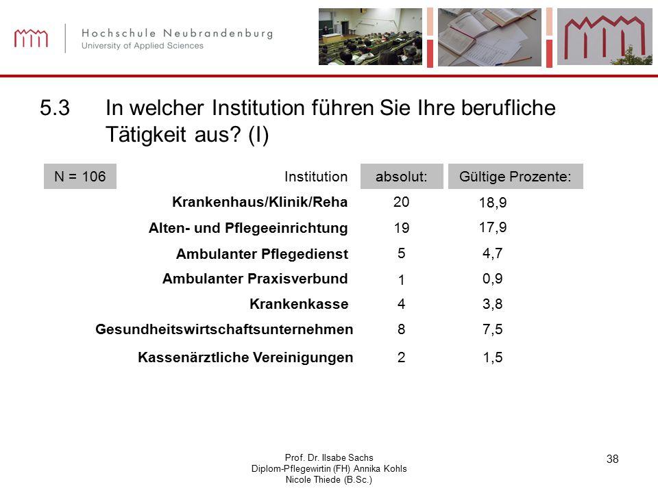 Prof. Dr. Ilsabe Sachs Diplom-Pflegewirtin (FH) Annika Kohls Nicole Thiede (B.Sc.) 38 5.3In welcher Institution führen Sie Ihre berufliche Tätigkeit a