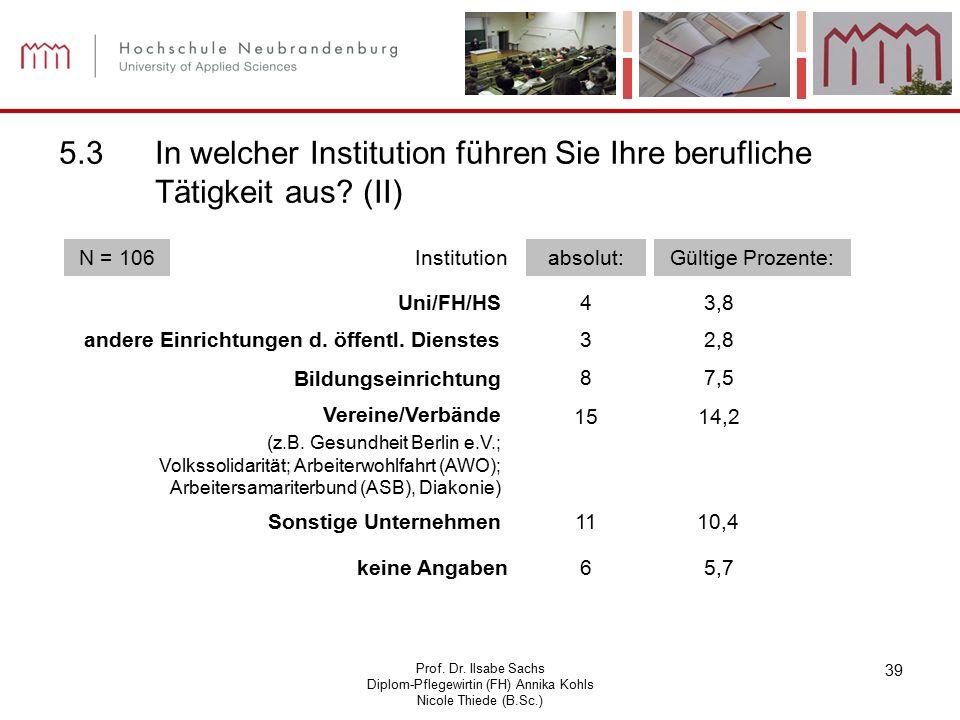 Prof. Dr. Ilsabe Sachs Diplom-Pflegewirtin (FH) Annika Kohls Nicole Thiede (B.Sc.) 39 5.3In welcher Institution führen Sie Ihre berufliche Tätigkeit a