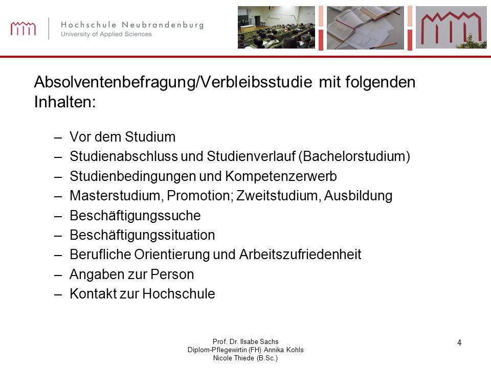 Prof. Dr. Ilsabe Sachs Diplom-Pflegewirtin (FH) Annika Kohls Nicole Thiede (B.Sc.) 4 Absolventenbefragung/Verbleibsstudie mit folgenden Inhalten: –Vor