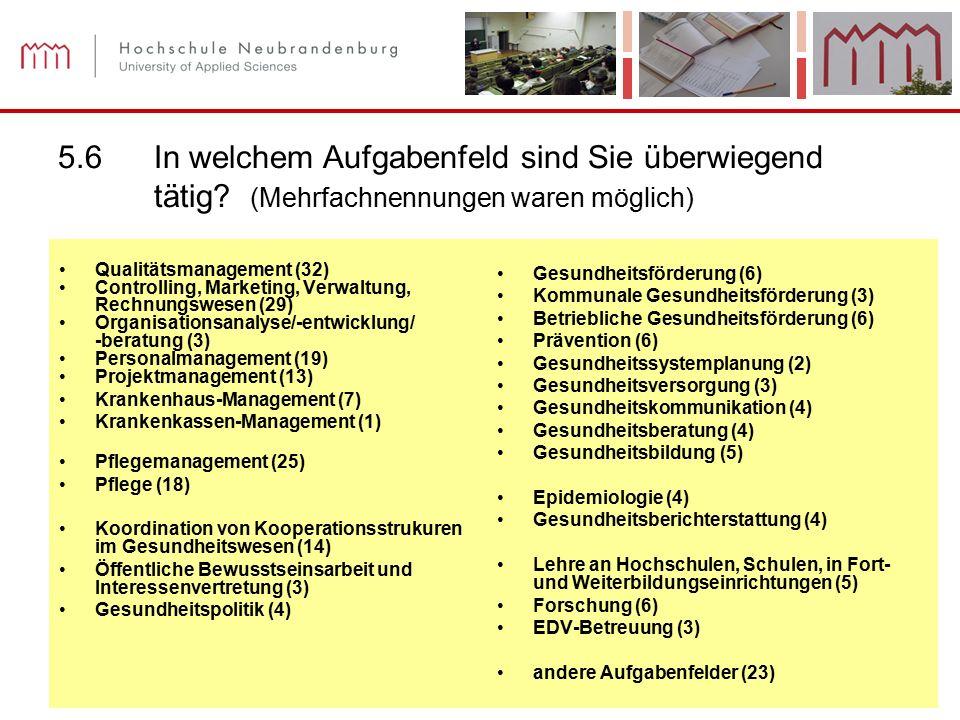Prof. Dr. Ilsabe Sachs Diplom-Pflegewirtin (FH) Annika Kohls Nicole Thiede (B.Sc.) 42 5.6In welchem Aufgabenfeld sind Sie überwiegend tätig? (Mehrfach
