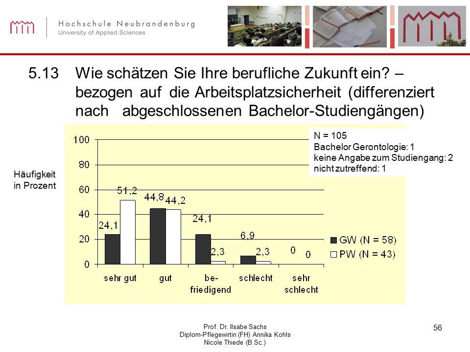 Prof. Dr. Ilsabe Sachs Diplom-Pflegewirtin (FH) Annika Kohls Nicole Thiede (B.Sc.) 56 5.13Wie schätzen Sie Ihre berufliche Zukunft ein? – bezogen auf