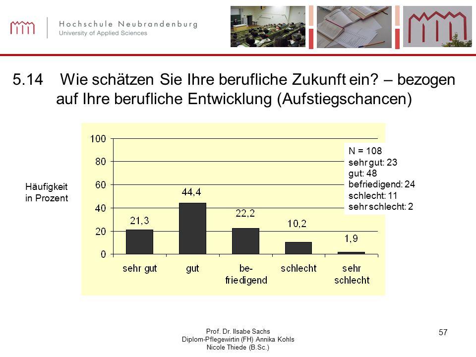 Prof. Dr. Ilsabe Sachs Diplom-Pflegewirtin (FH) Annika Kohls Nicole Thiede (B.Sc.) 57 Häufigkeit in Prozent N = 108 sehr gut: 23 gut: 48 befriedigend: