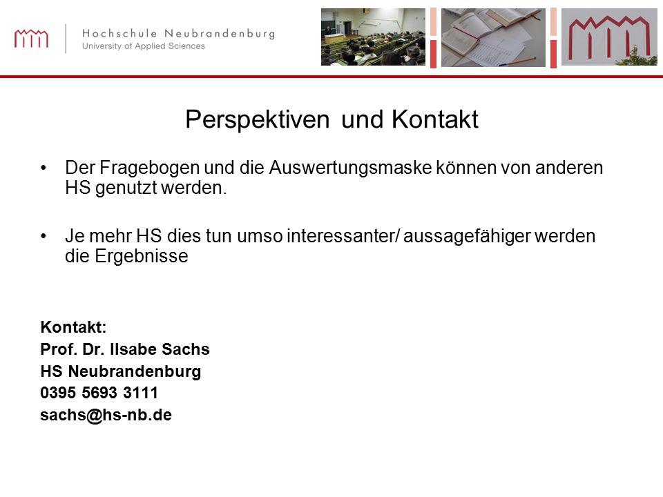 Perspektiven und Kontakt Der Fragebogen und die Auswertungsmaske können von anderen HS genutzt werden.