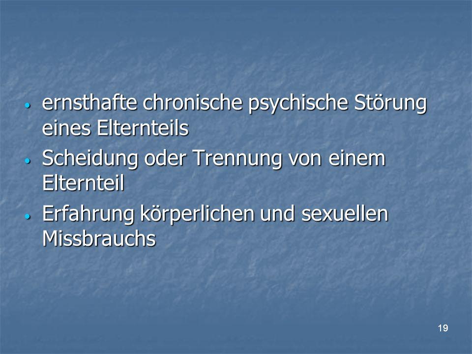 19 ernsthafte chronische psychische Störung eines Elternteils ernsthafte chronische psychische Störung eines Elternteils Scheidung oder Trennung von einem Elternteil Scheidung oder Trennung von einem Elternteil Erfahrung körperlichen und sexuellen Missbrauchs Erfahrung körperlichen und sexuellen Missbrauchs