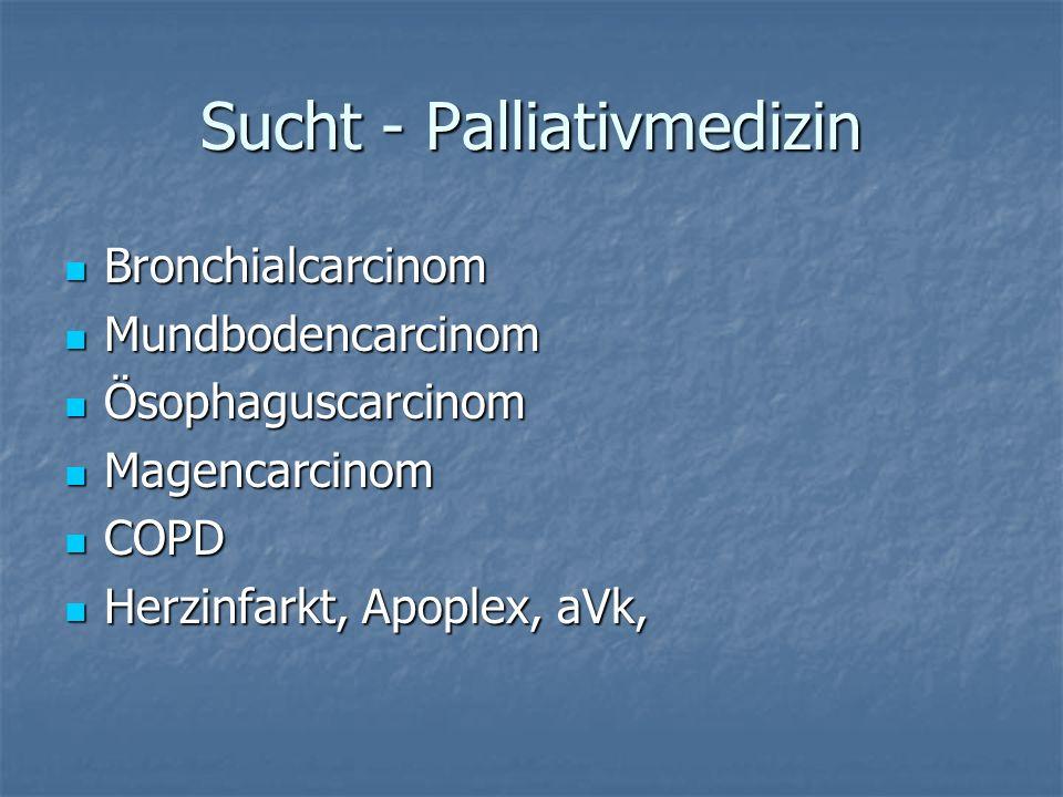 Sucht - Palliativmedizin Bronchialcarcinom Bronchialcarcinom Mundbodencarcinom Mundbodencarcinom Ösophaguscarcinom Ösophaguscarcinom Magencarcinom Magencarcinom COPD COPD Herzinfarkt, Apoplex, aVk, Herzinfarkt, Apoplex, aVk,