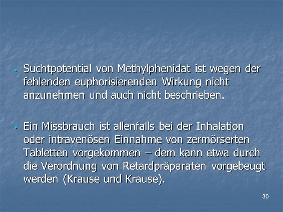 30 Suchtpotential von Methylphenidat ist wegen der fehlenden euphorisierenden Wirkung nicht anzunehmen und auch nicht beschrieben.