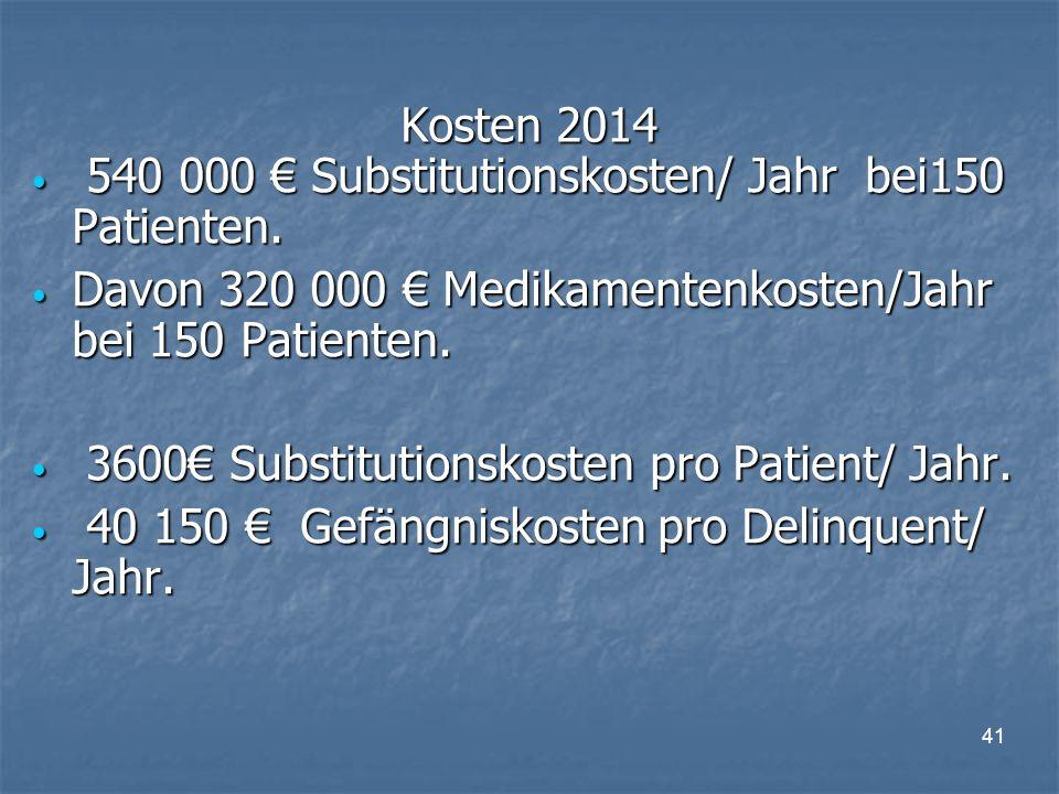 41 Kosten 2014 540 000 € Substitutionskosten/ Jahr bei150 Patienten.