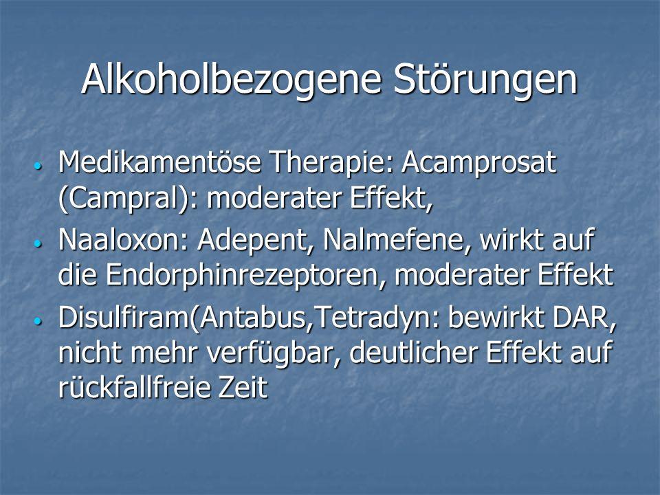 Alkoholbezogene Störungen Medikamentöse Therapie: Acamprosat (Campral): moderater Effekt, Medikamentöse Therapie: Acamprosat (Campral): moderater Effekt, Naaloxon: Adepent, Nalmefene, wirkt auf die Endorphinrezeptoren, moderater Effekt Naaloxon: Adepent, Nalmefene, wirkt auf die Endorphinrezeptoren, moderater Effekt Disulfiram(Antabus,Tetradyn: bewirkt DAR, nicht mehr verfügbar, deutlicher Effekt auf rückfallfreie Zeit Disulfiram(Antabus,Tetradyn: bewirkt DAR, nicht mehr verfügbar, deutlicher Effekt auf rückfallfreie Zeit