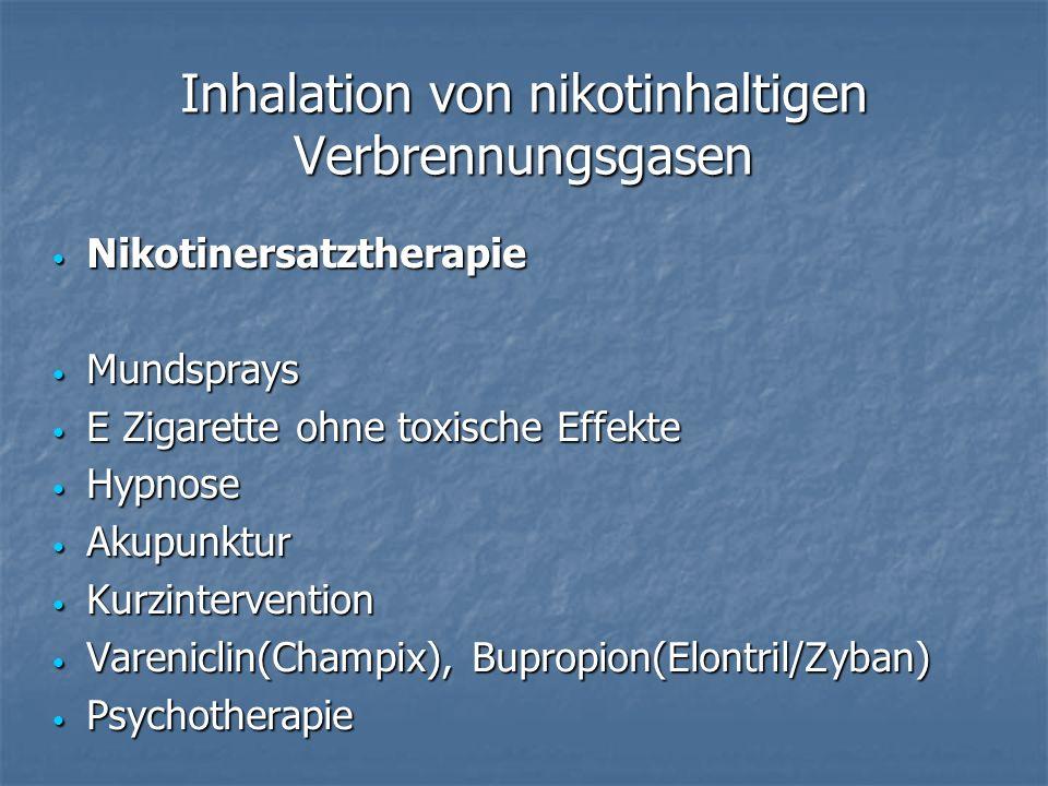 Inhalation von nikotinhaltigen Verbrennungsgasen Nikotinersatztherapie Nikotinersatztherapie Mundsprays Mundsprays E Zigarette ohne toxische Effekte E Zigarette ohne toxische Effekte Hypnose Hypnose Akupunktur Akupunktur Kurzintervention Kurzintervention Vareniclin(Champix), Bupropion(Elontril/Zyban) Vareniclin(Champix), Bupropion(Elontril/Zyban) Psychotherapie Psychotherapie