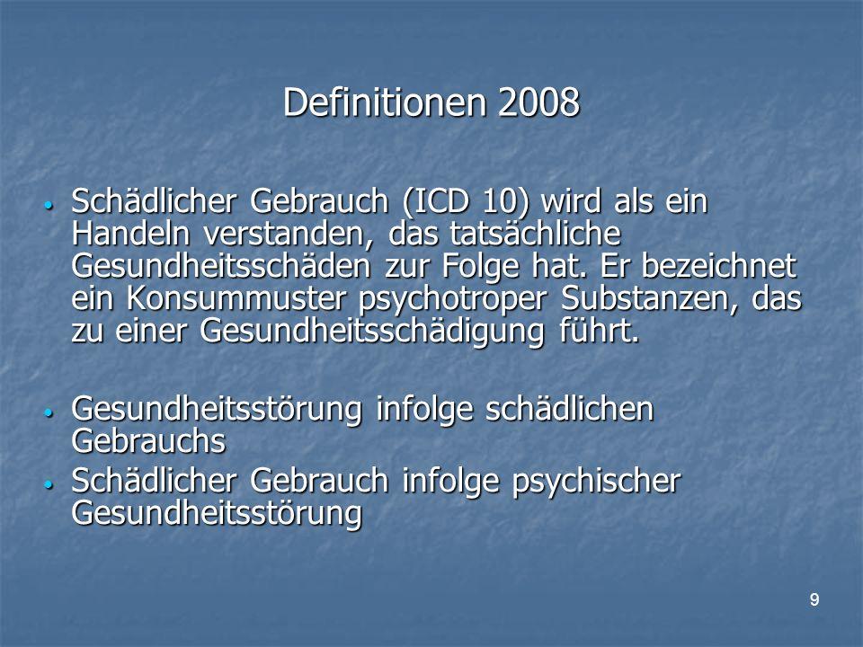9 Definitionen 2008 Schädlicher Gebrauch (ICD 10) wird als ein Handeln verstanden, das tatsächliche Gesundheitsschäden zur Folge hat.