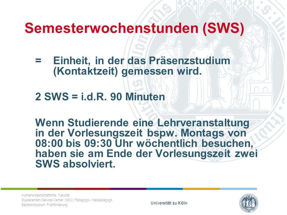 Semesterwochenstunden (SWS) = Einheit, in der das Präsenzstudium (Kontaktzeit) gemessen wird.