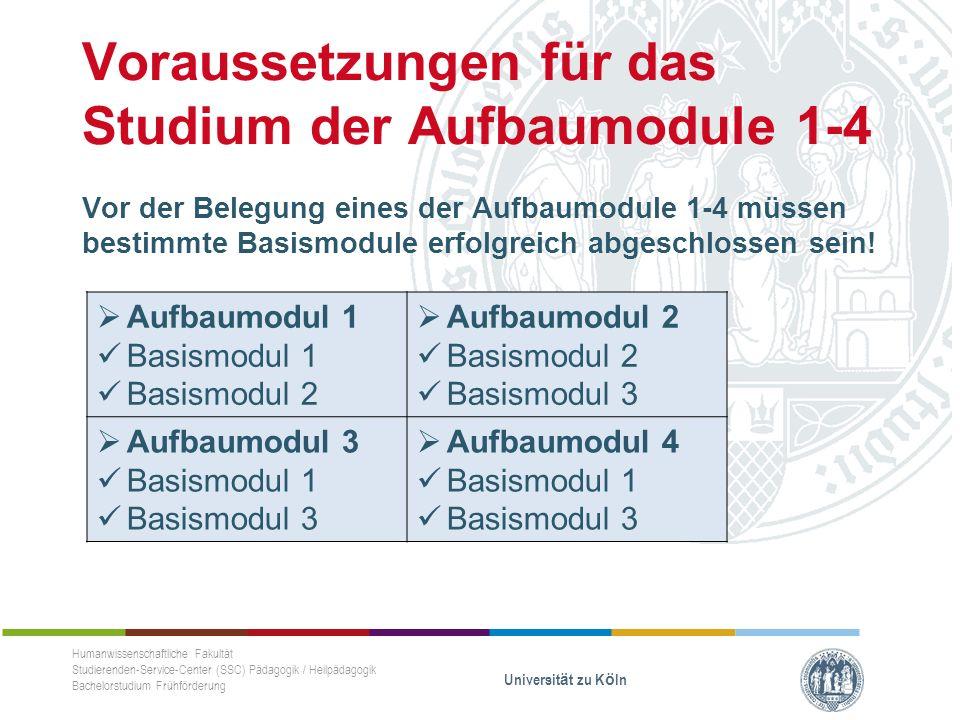 Voraussetzungen für das Studium der Aufbaumodule 1-4 Vor der Belegung eines der Aufbaumodule 1-4 müssen bestimmte Basismodule erfolgreich abgeschlossen sein.