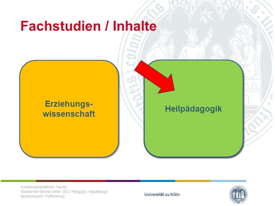 Fachstudien / Inhalte Humanwissenschaftliche Fakultät Studierenden-Service-Center (SSC) Pädagogik / Heilpädagogik Bachelorstudium Frühförderung Universität zu Köln Fach II (Philosophische Fakultät) Fach II (Philosophische Fakultät) Erziehungs- wissenschaft Heilpädagogik