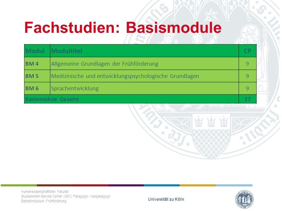 Fachstudien: Basismodule Humanwissenschaftliche Fakultät Studierenden-Service-Center (SSC) Pädagogik / Heilpädagogik Bachelorstudium Frühförderung Universität zu Köln ModulModultitelCP BM 4Allgemeine Grundlagen der Frühförderung 9 BM 5Medizinische und entwicklungspsychologische Grundlagen 9 BM 6Sprachentwicklung 9 Basismodule Gesamt27
