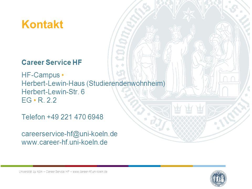 Kontakt Career Service HF HF-Campus Herbert-Lewin-Haus (Studierendenwohnheim) Herbert-Lewin-Str.